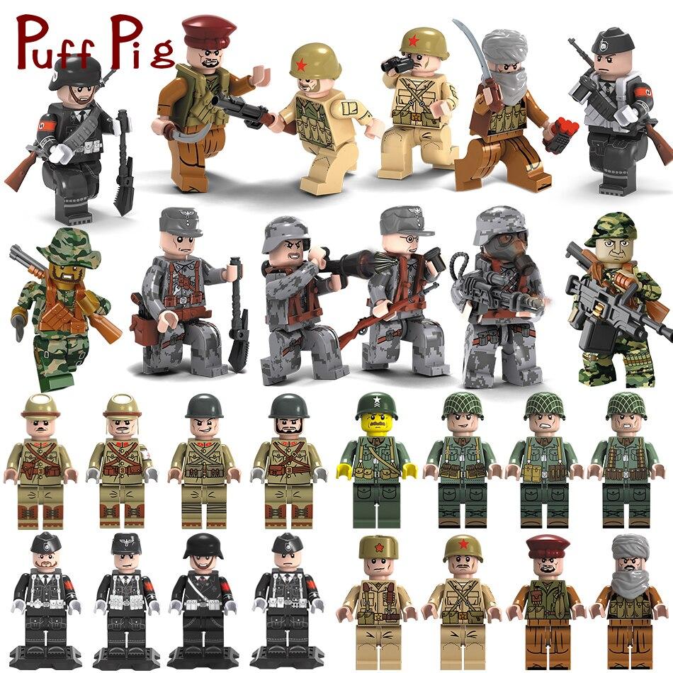 Military Swat Team Stadt Polizei Bewaffneten Angriff Armee soldaten Mit Waffen Pistolen Kompatibel Legoed Figuren WW2 Bausteine Spielzeug