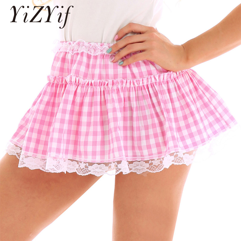YiZYiF Men Sissy Micro Mini Skirts Women Elastic Waistband Short Skirt With Lace Hem Pleated Gingham A-line Mini Skirt Sexy Men