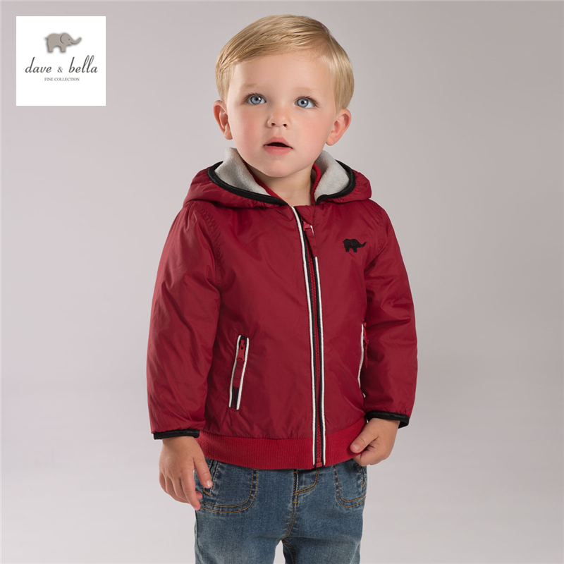 ФОТО DB4140 davebella  autumn boutique baby  boy hooded coat babi red outerwear baby clothes baby boy plum outerwear