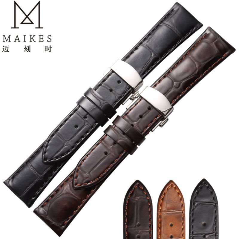 MAIKES Good Quality Watch Accessories 18 19 20 22 mm Watchbands Genuine Leather Strap Band Watches Bracelet Belt For Longines цена и фото
