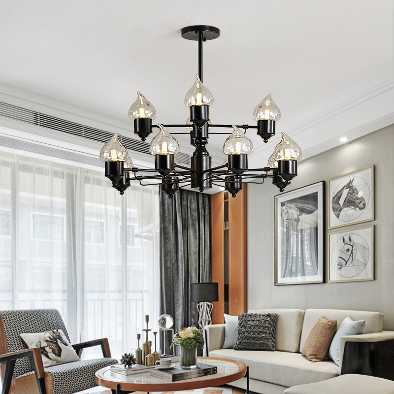 Chic Dining Room Chandeliers: Nordic Industrial Style Dining Room Chandelier Led