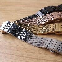스테인레스 스틸 팔찌 솔리드 링크 시계 밴드 18mm 19mm 20mm 21mm 시계 스트랩 손목 시계 밴드 세련된 실버 블랙 로즈 골드