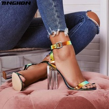 TINGHON Fashion PU Sandals Woman Clear Round Toe Square High Heels Shoe Buckle Strap Shallow Blue Dress Party Shoes Size 35-42