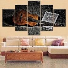 5 Panel Music Classisc Retro Guitar Painting Modern Canvas Print Poster For Living Room Home Decor Framework Modular Artwork