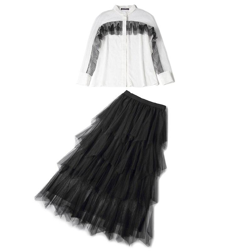 Nouveau Chart Volant Costumes Gâteau Blanc été Rmojul Jupes Printemps Gaze De À 2019 Laurence Mode Famille Chemise Femmes See 7U8q10a