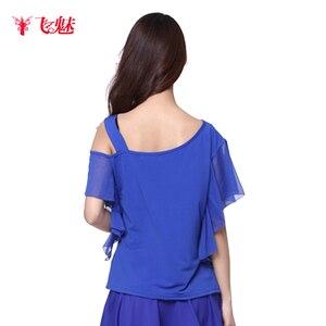 Image 5 - Vêtement de danse carrée pour femmes, hauts à manches courtes aux épaules obliques, sans bretelles pour spectacles de danse latine, haut/tees à manches courtes