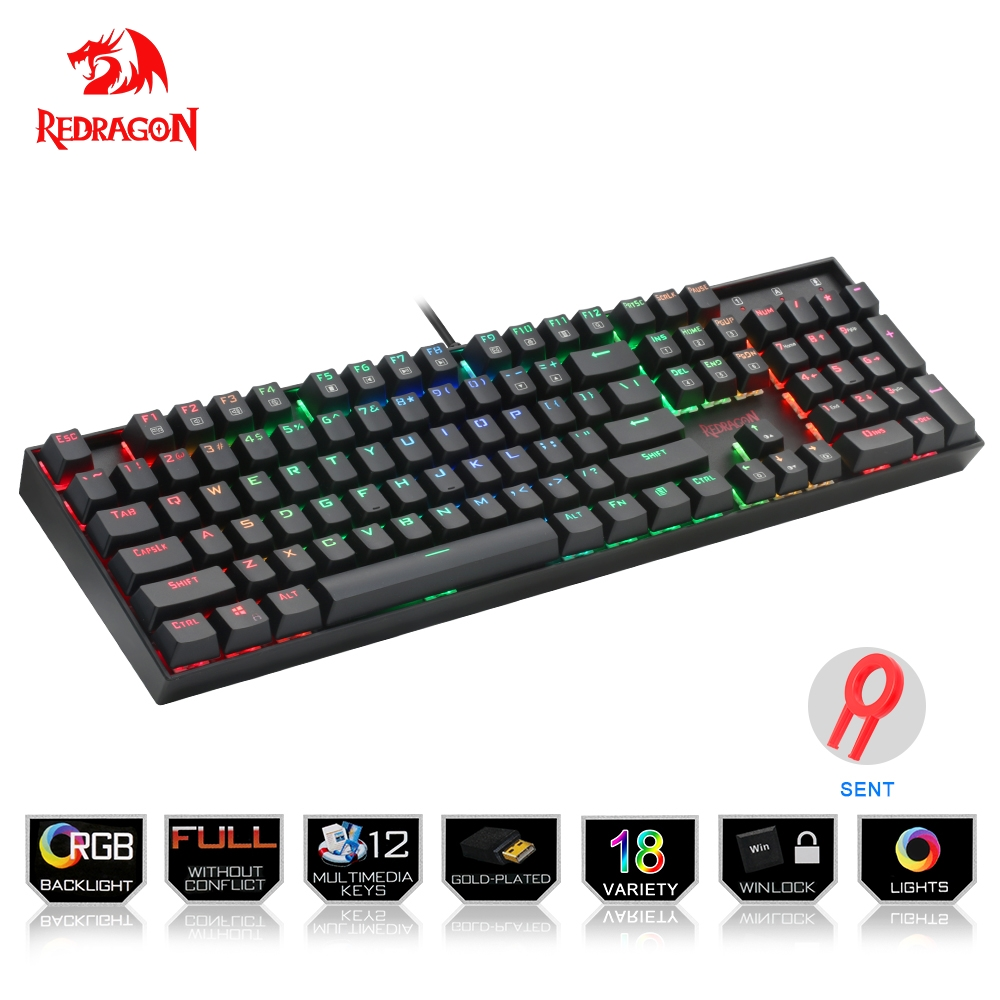 Redragon USB mechanical gaming keyboard ergonomic RGB LED backlit keys Full key anti-ghosting 104 wired Computer gamer PC