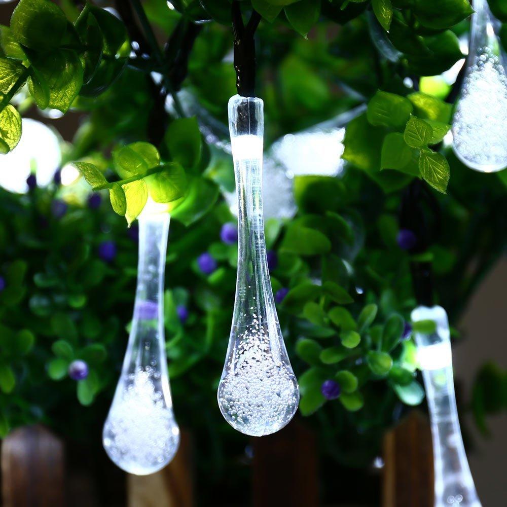 6pcs Solar Outdoor 40 LED String Lights, Fairy Water Drop Lights ...