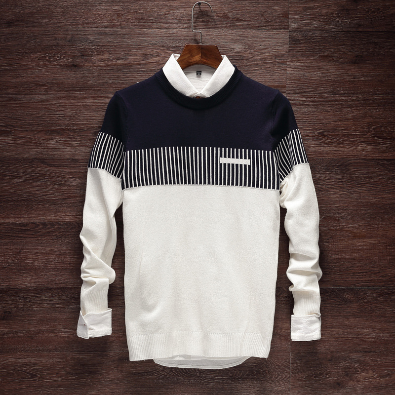 Men Autumn Sweater Knitted Warm Pullovers Patchwork O-neck Long Sleeve Standard Sweaters Male Jumper Casual Tops