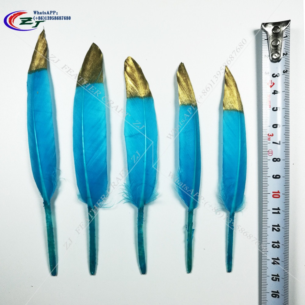 Gold/Blue Goose Feathers 100pcs/lot Goose Satinettes Loose feathers,goose craft feathers,10-15cm long Free Shipping