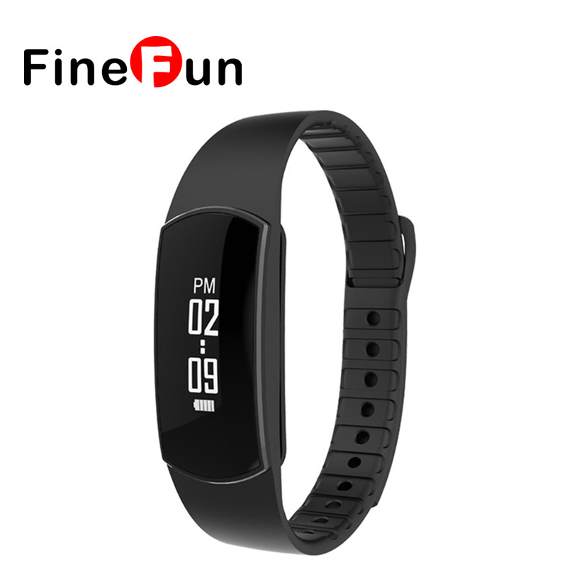 FineFun Smart Wristband SH07 Intelligent LED Bracelet Movement Pedometer Calories Sleep Tracking Call Reminders Work Android