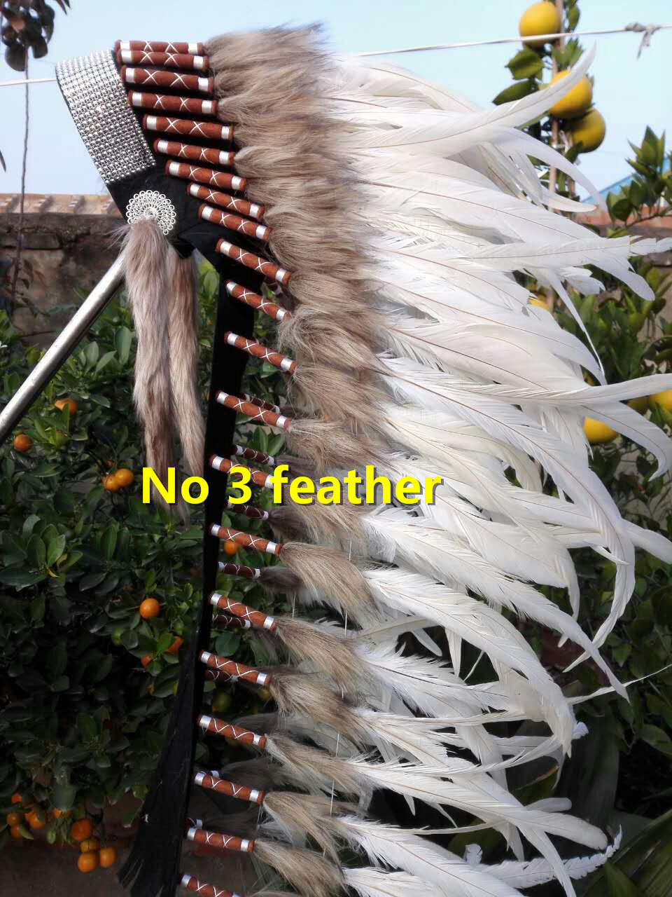 36inch off white Indian feather Headdress indian chief warbonnet halloween supply handmade feather headdress