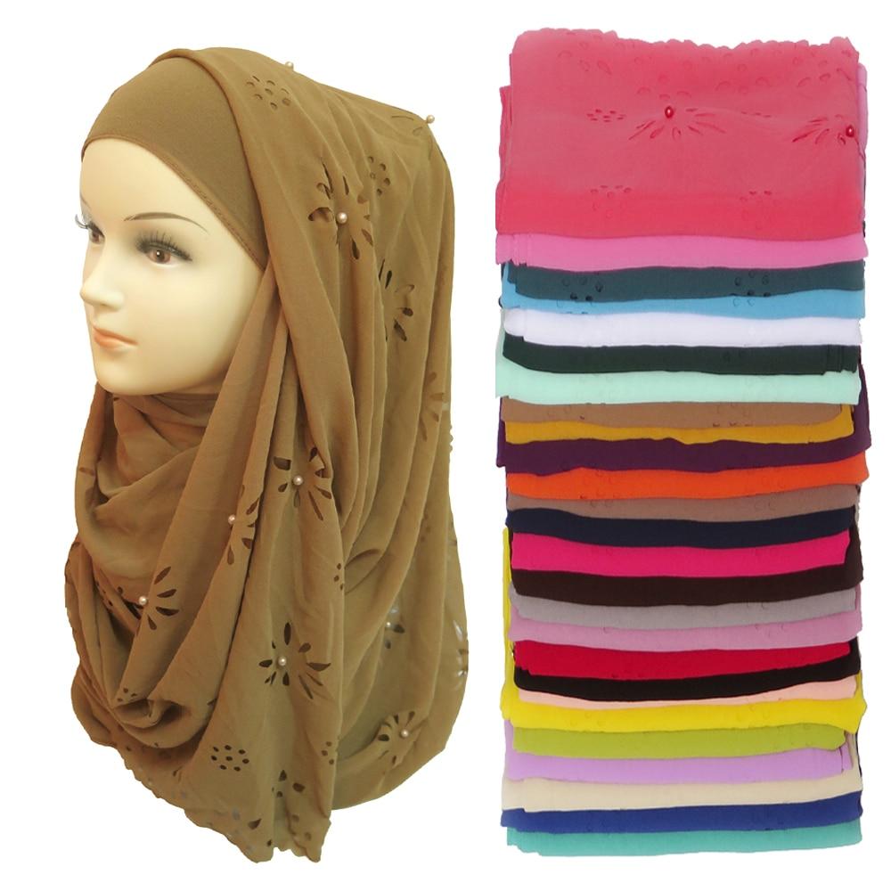 180*85cm Big Size Bubble Chiffon Floral Laser Cut Pearls Muslim Hijab Head Wrap Scarf Shawl Plain Colours