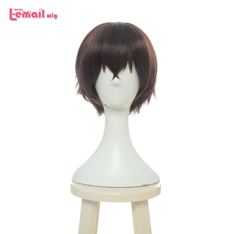 L-email Wig Bungo Stray Dogs Osamu Dazai Cosplay Wigs 30cm Short Straight Heat Resistant Synthetic Hair Perucas Cosplay Wig