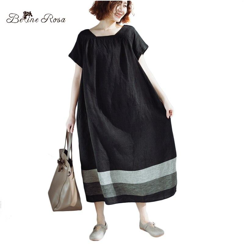 BelineRosa Casual Dresses for Women Simple Style Pure Color Black Dress for Women Hit Color Big Size Women Clothes ZRK00058