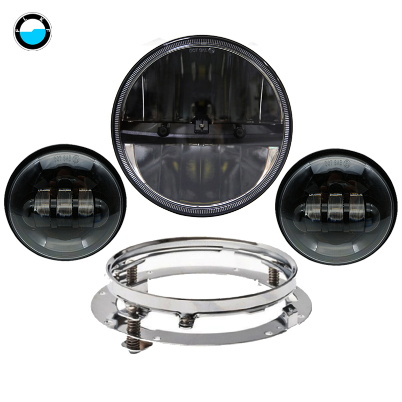 Motorcycle lighting LED 7 Daymaker Headlight Passing Lights Mount Ring For Harley Davidson Touring. Motorcycle assembly. 7 motorcycle daymaker rgb led headlight