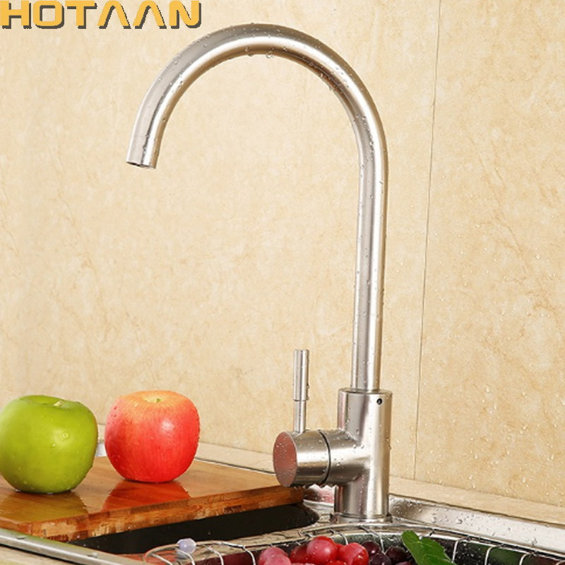 Brushed Nickle SUS 304# Stainleel Steel Kitchen Faucet Pull Out Spray Deck Mounted Sink Mixer Taps Single Handle Swivel YT-6039 perfect brushed nickle solid brass kitchen faucet pull out spray deck mounted sink mixer taps single handle swivel yt 6028