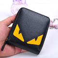 2016 New Arrival Interior Zipper Pocket New Spoof Little Monster Short Leather Wallet Purse Zipper Simple Korean Students