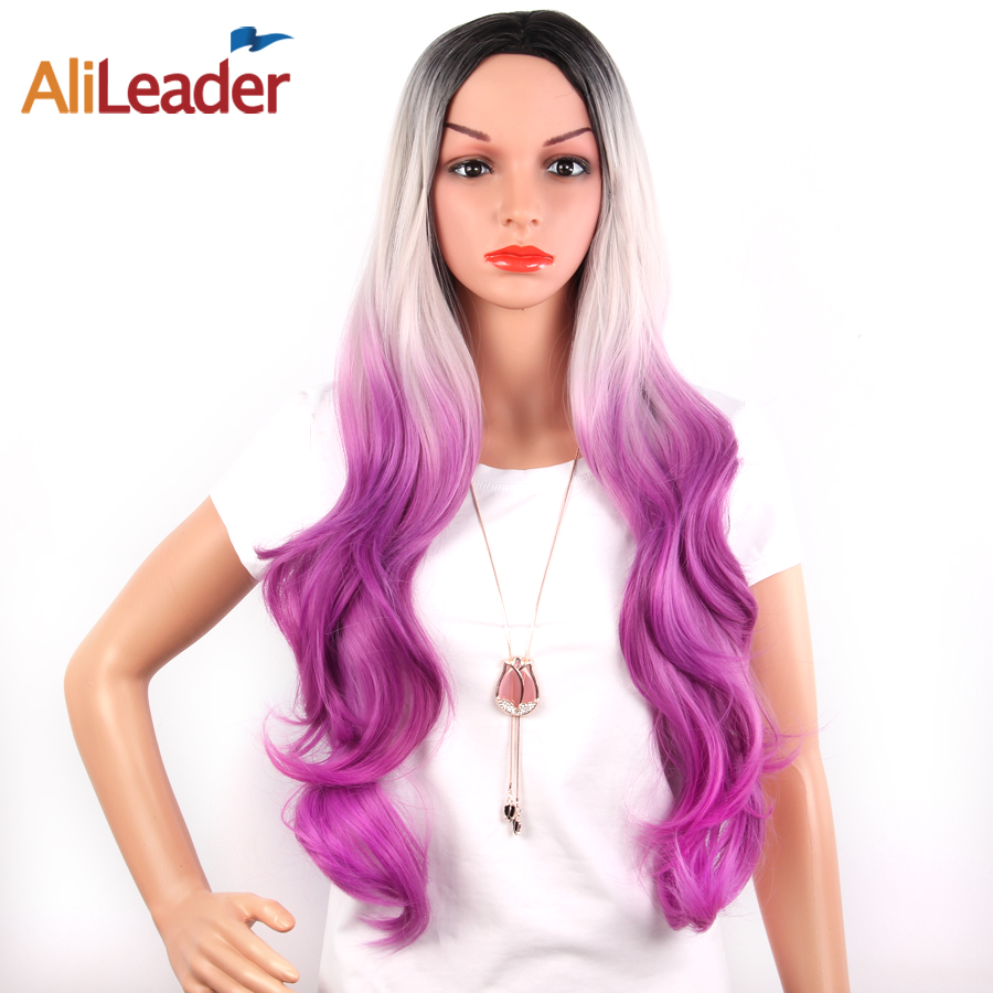 AliLeader Syntetisk Big Body Wave Paryk Full Machine Made Ombre Blond - Syntetiskt hår