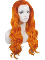 Imstyle Deep Wave orange 24 inches Synthetic hair Lace Front Wig for black white yellow women or drag queen cosplay