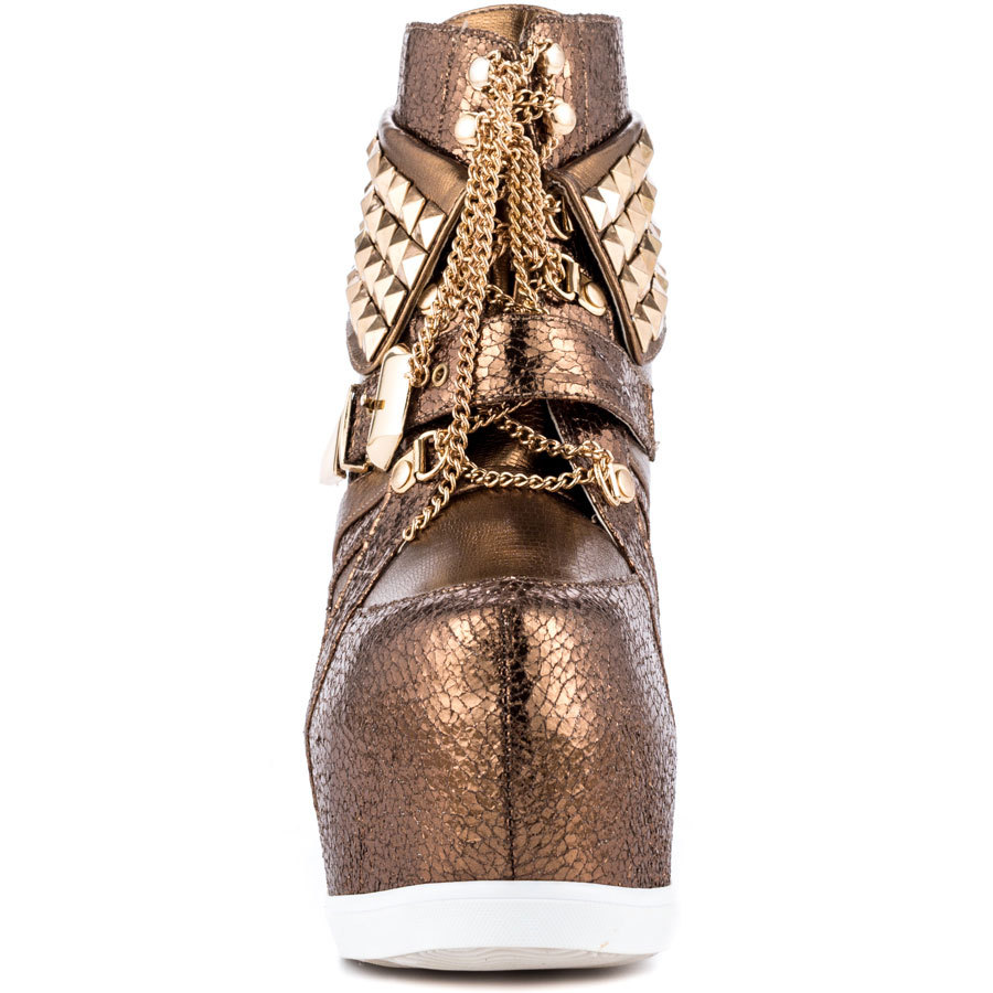 Bronze Shoes Ladies Buckle Ankle Boots High Zipper Boot Ladies Comfort Shoes In Leather High Heel Wedge Platform Boots Size 11 nayiduyun women genuine leather wedge high heel pumps platform creepers round toe slip on casual shoes boots wedge sneakers