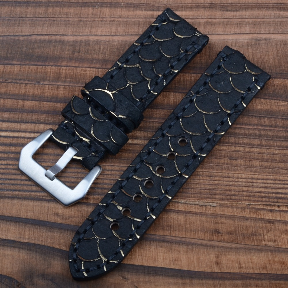 Special Leather Fish Skin Genuine Leather Watchband Handmade Leather Watchband 24mm все цены