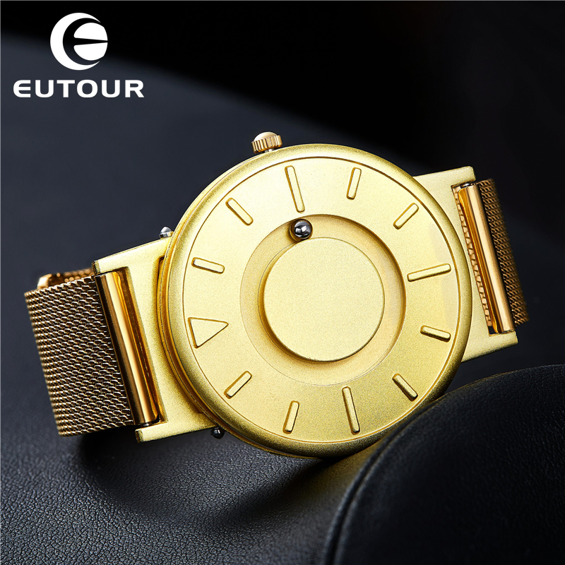 New EUTOUR Gold Watch Men Steel Ball Show Magnetic Watch Personality Wristwatches Mens Watches Top Brand Luxury For Blind Person 4pcs new for ball uff bes m18mg noc80b s04g