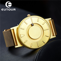 New EUTOUR Gold Watch Men Steel Ball Show Magnetic Watch Personality Wristwatches Mens Watches Top Brand