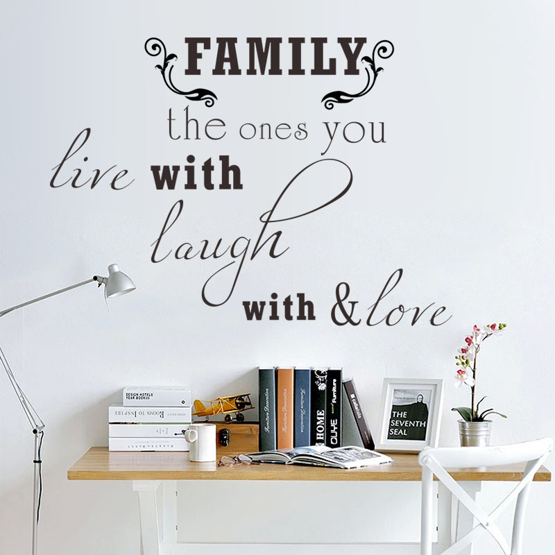 Family The Ones You Live With English Quotes Vinyl Wall Sticker