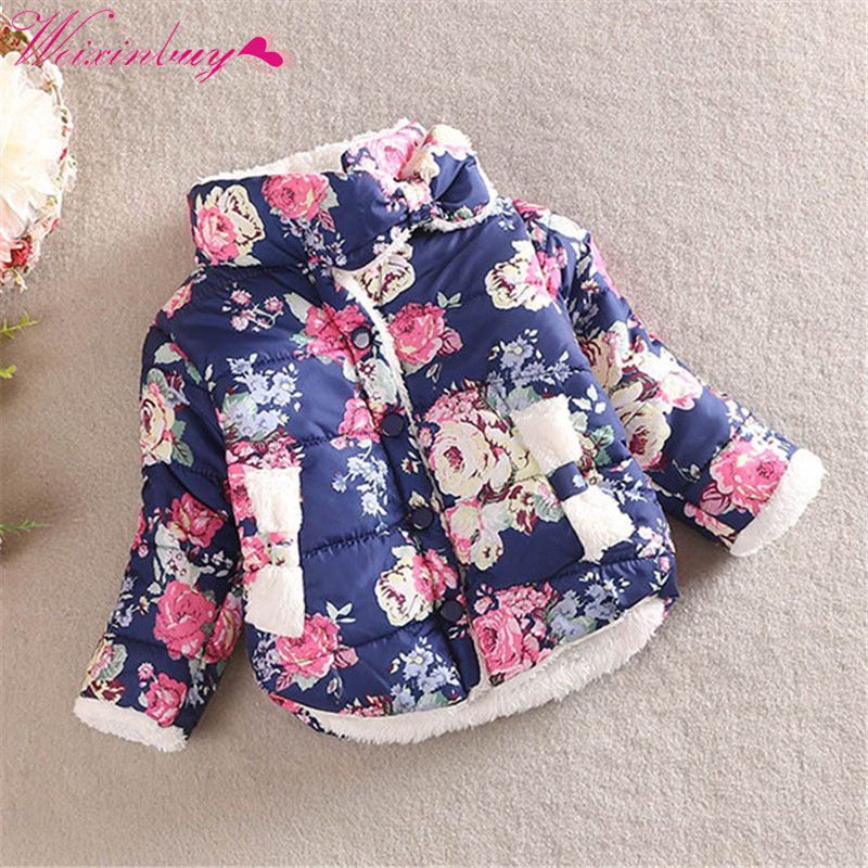 Winter Kid Baby Girl Floral Stand Collar Long Sleeve Bow Coat Outerwear 2-6Y band collar floral blouse