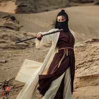 Film clothing Tang style martial arts costume studio desert Swords women Hanfu woman portrait costumes stage Outfit cotton Linen