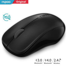 Asli Rapoo Silent Mouse Optik Nirkabel Tombol Diam Klik Mini Bersuara Permainan Tikus 1000 Dpi untuk Macbook Laptop PC Komputer(China)