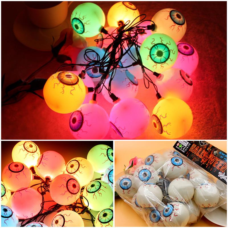 12pcs/lot Fancy Eye Balls String Lattern Lights LED Eyeball Colorful Strand Lamp Halloween Masquerade Supplies HN303