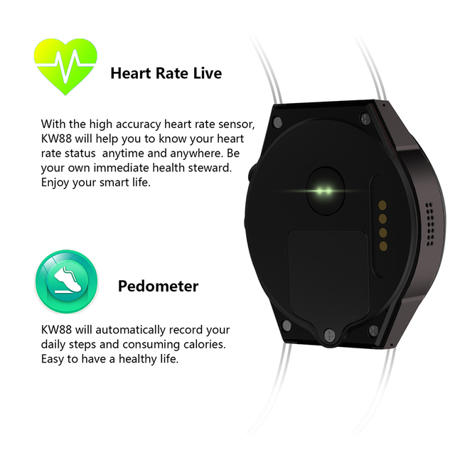 KW88 3G WIFI GPS bluetooth smart watch Android 5.1 MTK6580 CPU 1.39 inch 2.0MP camera smartwatch for iphone huawei phone watch 4