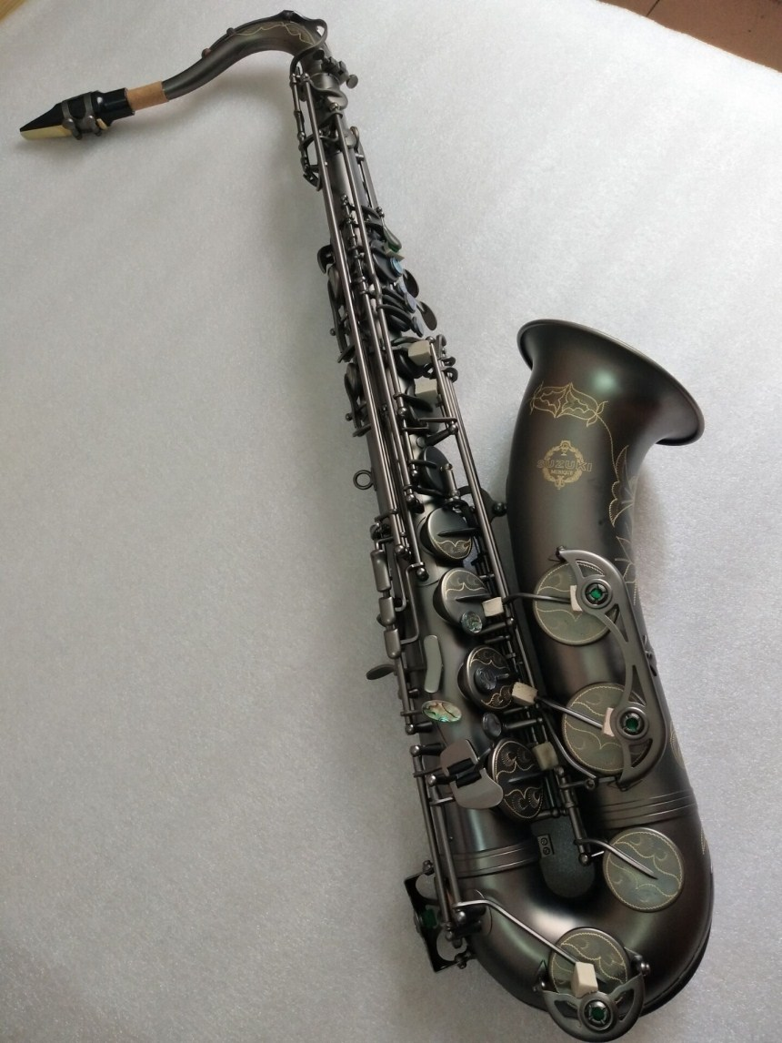 New Japan Suzuki  B flat Musical instrument Tenor Saxophone playing professionally paragraph Black Nickel Gold Saxophone FreeNew Japan Suzuki  B flat Musical instrument Tenor Saxophone playing professionally paragraph Black Nickel Gold Saxophone Free