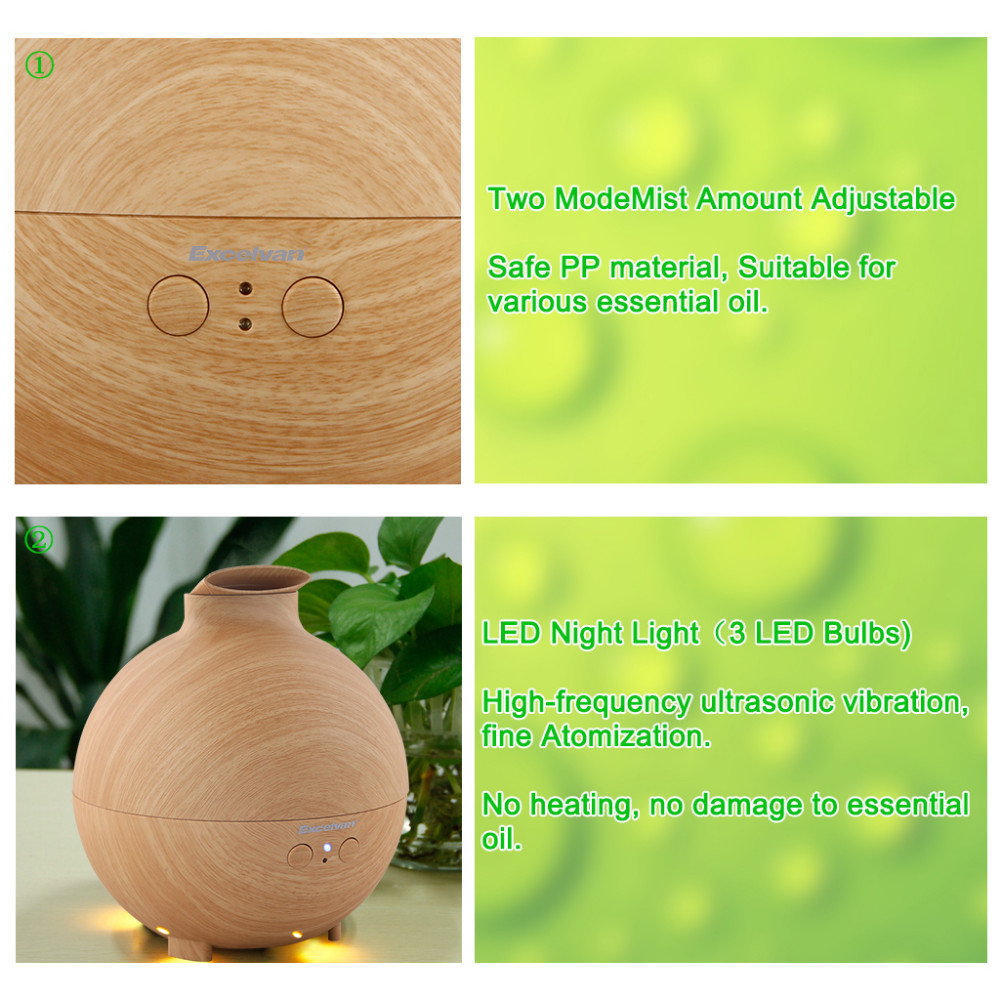 142638201_12_Excelvan Essential Oil Aroma Diffuser Ultrasonic Humidifier Air Mist Aromatherapy Purifier Woodgrain Model 20006A EU