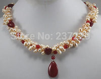 HOT## Wholesale price FREE SHIPPING ^^3 rows pink Pearl red jade Love drops tears Pendants Necklace