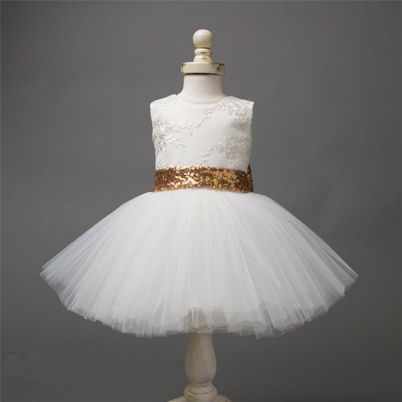 Retail 2017 New Baby Girl Princess Dress Sequins Gold Big Bow Lace Sleeveless Party Wedding Dress Children Clothing 1-7Y CC023