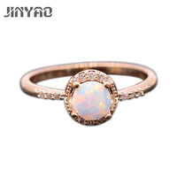 Beautiful Cute Simple Round Jewelry Fire Opal 925 Gold Plated Stamp Ring 5colors