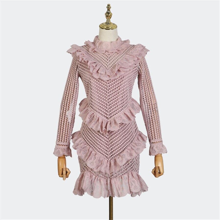 2018 New Autumn Hollow Out Women Long Sleeve Fashion Lady Dress Runway Designer Ruffled Mini dress Vestidos Light Pink Dresses