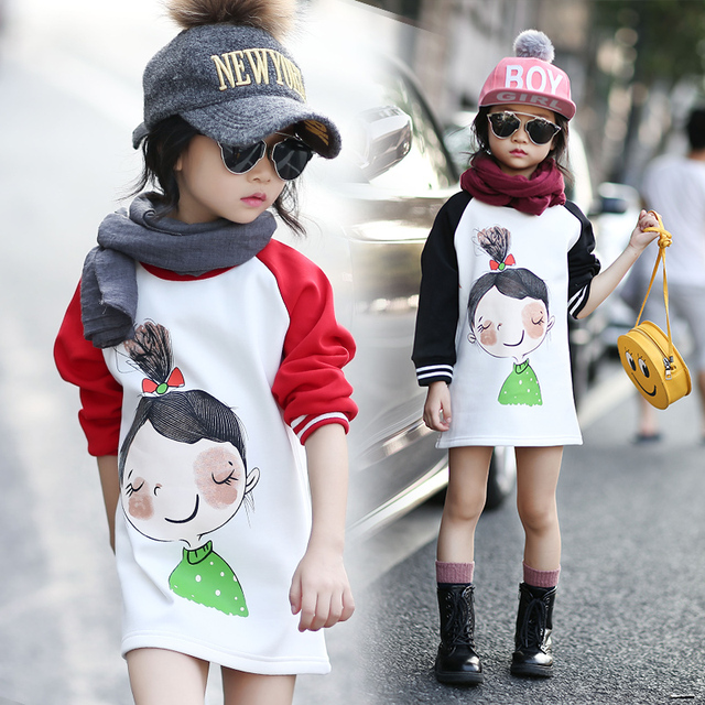 3-14 Years Hoodies Kids Winter Hooded Sweatshirts Girls Children Clothes Fashionable Kids Long Tops Thicken Outerwear For Girls