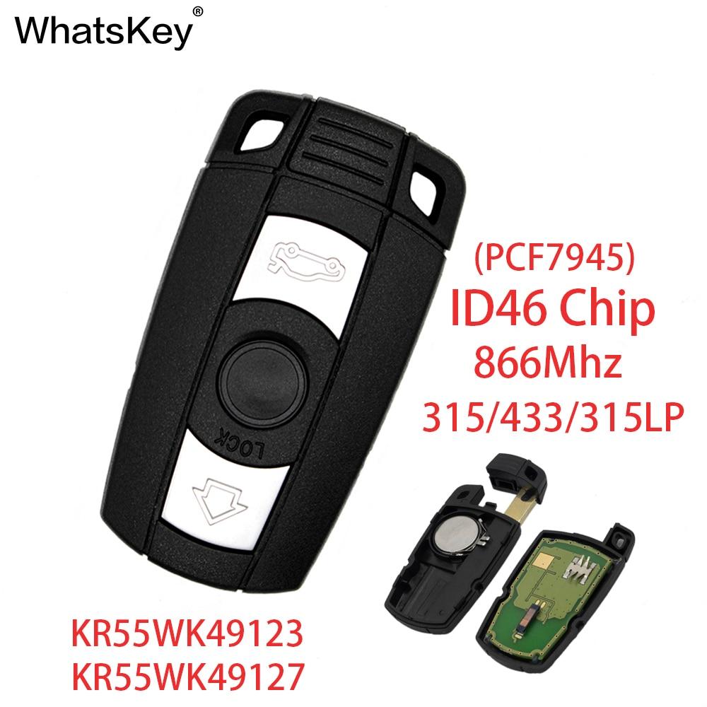 WhatsKey 315/433/868Mhz ID46 Chip 3 Button Smart Card Key Remote Car Key For BMW 1 3 5 6 Series E91 E92 E60 E90WhatsKey 315/433/868Mhz ID46 Chip 3 Button Smart Card Key Remote Car Key For BMW 1 3 5 6 Series E91 E92 E60 E90