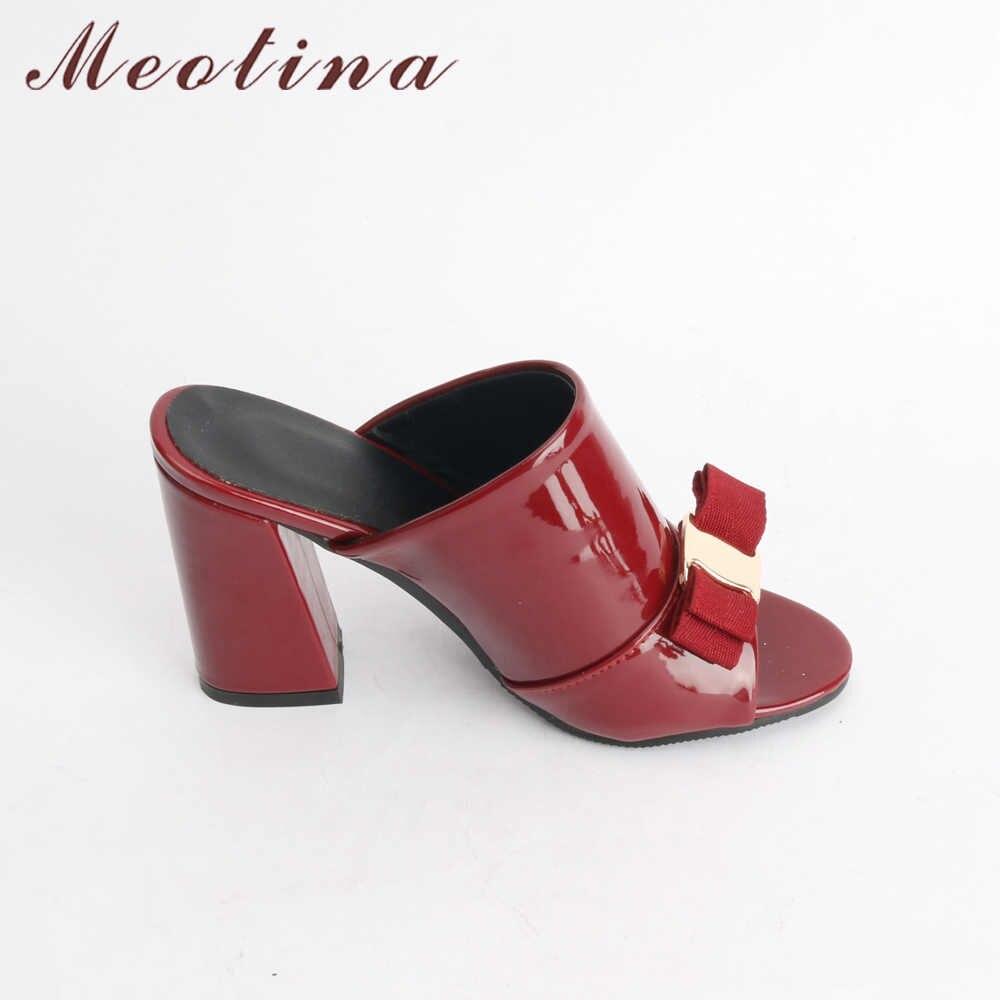 Meotina Mulheres Sapatos de Verão sapatos de Salto Alto Peep Toe Sapatos de Festa Senhoras Arco Calcanhar Bloco Feminino Chinelo Ao Ar Livre Preto Vermelho Grande tamanho 34-43