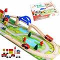 40 Unids Preescolar Juguete Puente Ferroviario Urbano Escena Tráfico Vía de Tren Tren De Juguete De Madera Juguetes Educativos Para Niños Conjunto para Los Niños