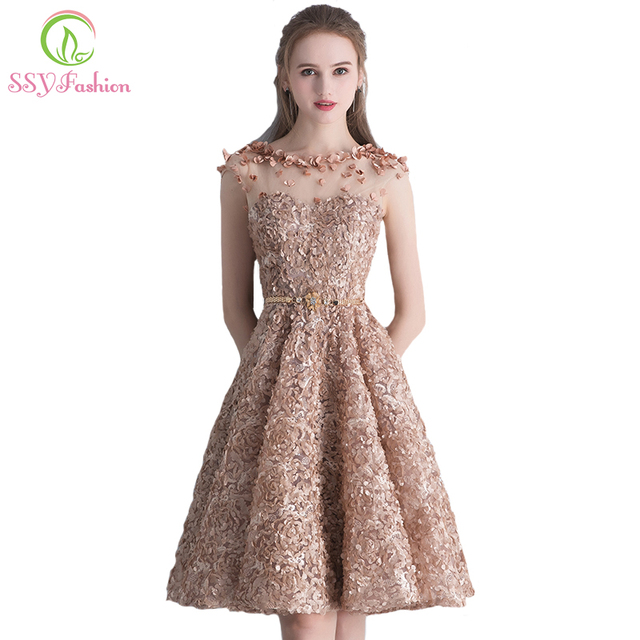 ssyfashion new elegant lace evening dress bride banquet simple khaki short sleeveless formal party gown custom