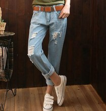 Boyfriend Style Ankle Length Ripped Jeans For Women Korean Fashion Loose Harem Vintage Blue Jeans Pant Capris Plus Size 34 36 38