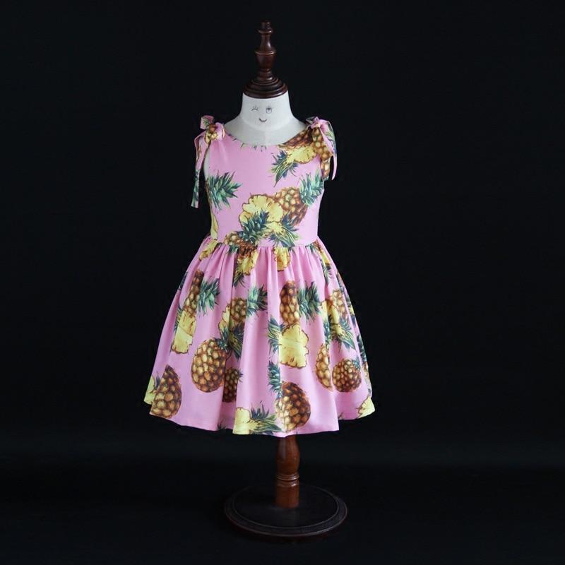 Été mode mère enfants coton robe famille correspondant tenues bébé vêtements fille ananas robe maman et fille robes de plage
