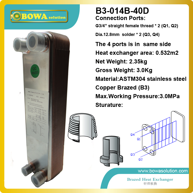 40plates copper brazed stainless steel plate heat exchanger designed for geothermal heat pump floor heating replace alfa laval 11kw heating capacity r410a to water and 4 5mpa working pressure plate heat exchanger is used in r410a heat pump air conditioner