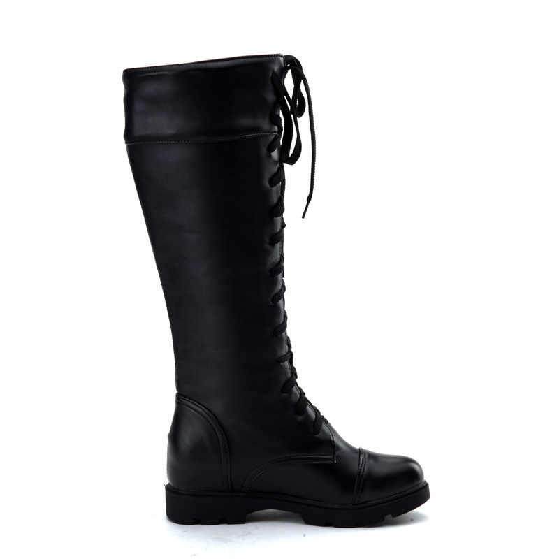 YMECHIC Ladies Boots Female Black White Cross Tied Lace Up Long Knee High Knight Motorcycle Boots Plus Size Shoes Woman Autumn