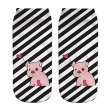 Black and white stripes pig 3d print ankle socks women 2018 new wholesale(China)